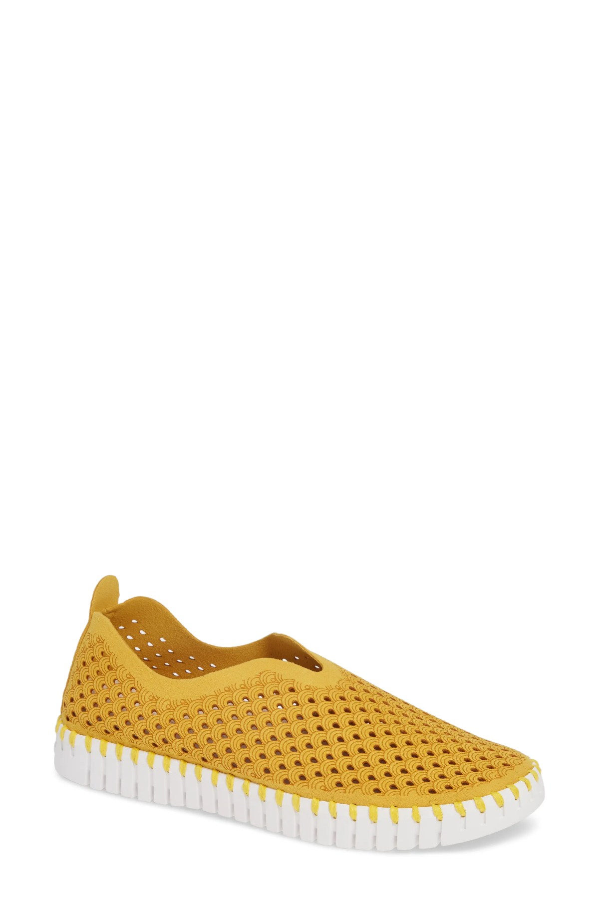 ILSE JACOBSEN Tulip 139 Perforated Slip-On Sneaker, Main, color, GOLDEN ROD FABRIC