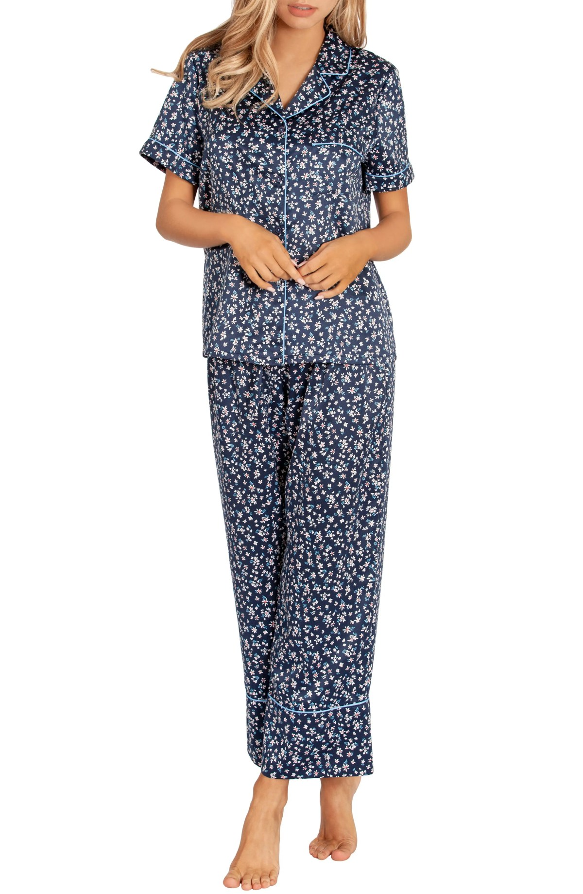 Satin Crop Pajamas, Main, color, NAVY DITSY PRINT