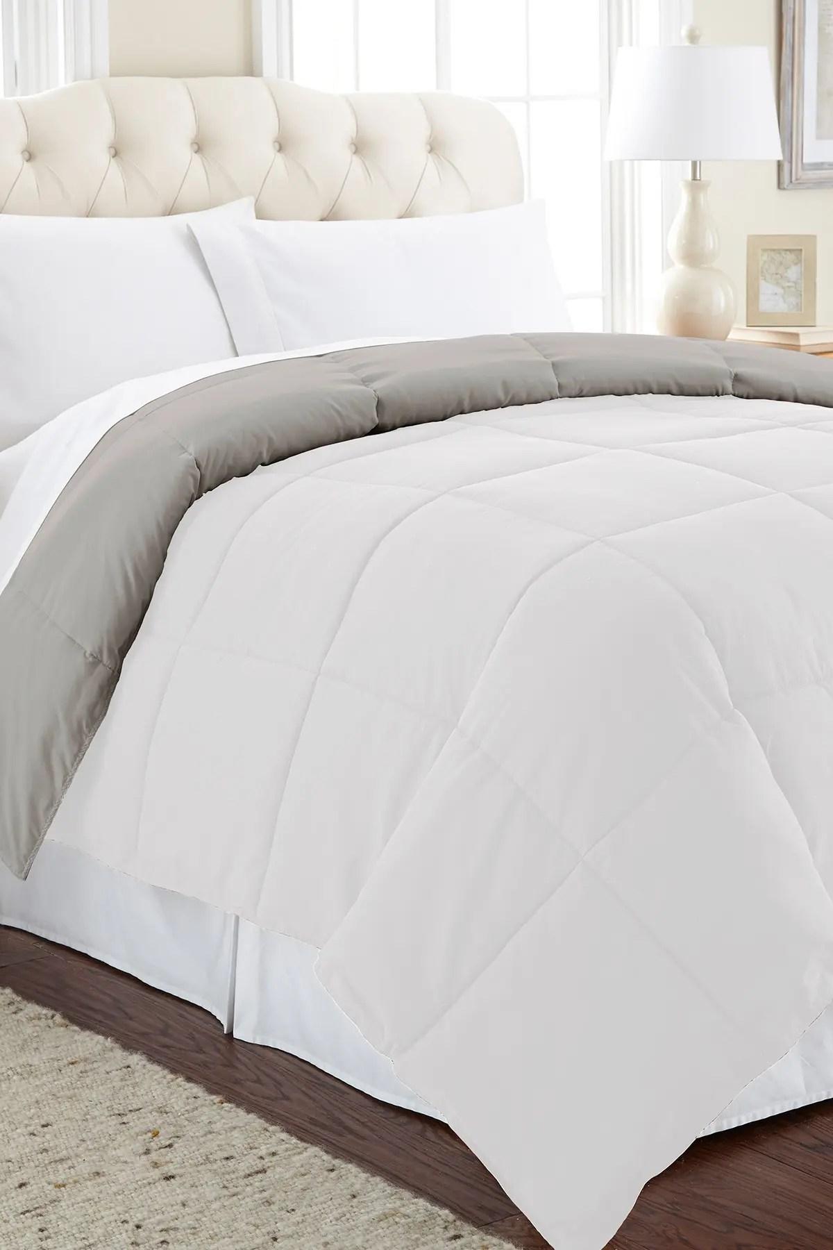 modern threads queen down alternative reversible comforter white grey nordstrom rack