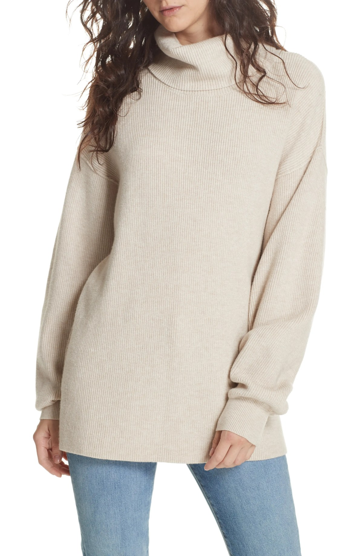 Softly Structured Knit Tunic, Main, color, IVORY