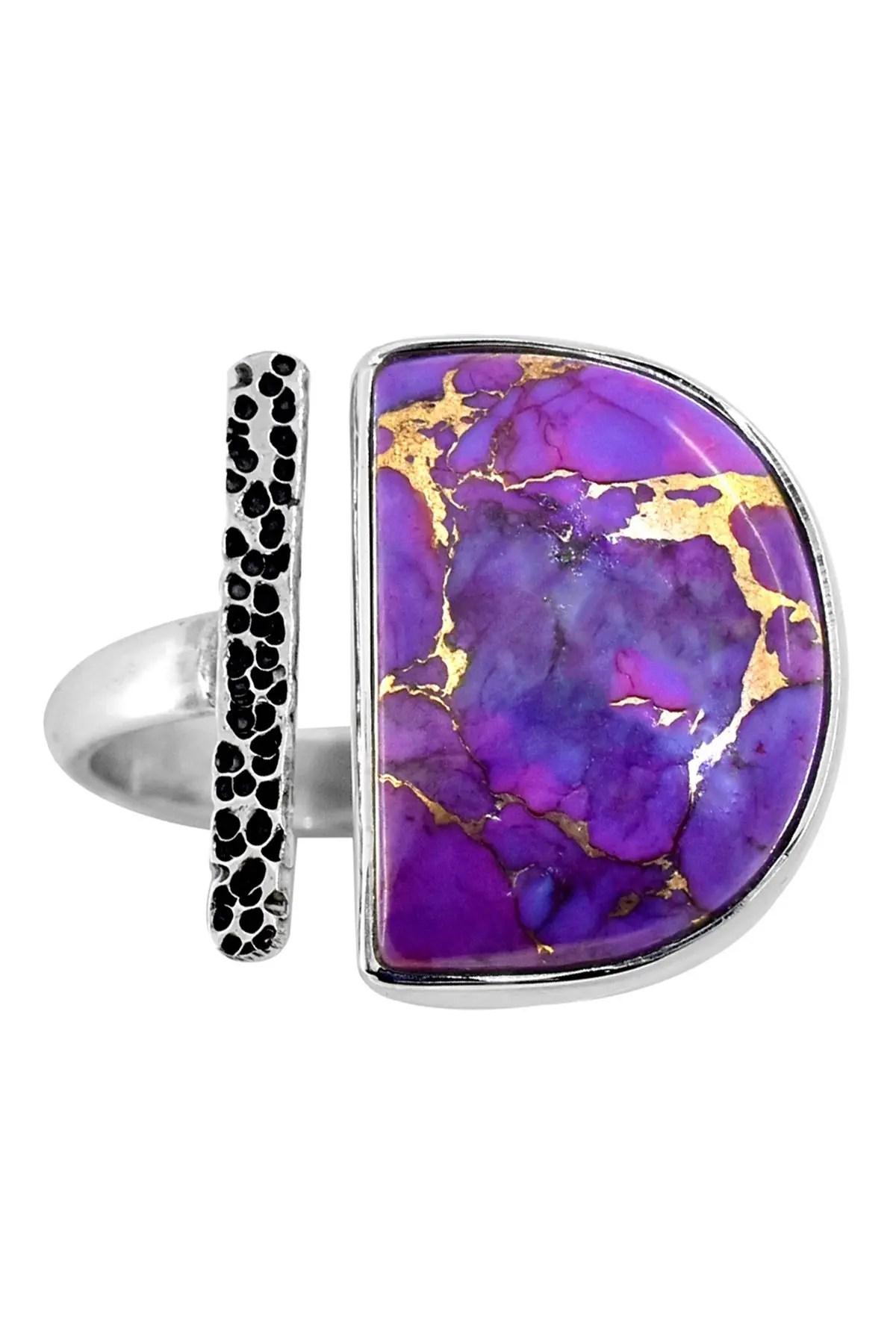 Purple Copper Turquoise : purple, copper, turquoise, Nitya, Purple, Copper, Turquoise, Hammered, Sterling, Silver, HauteLook