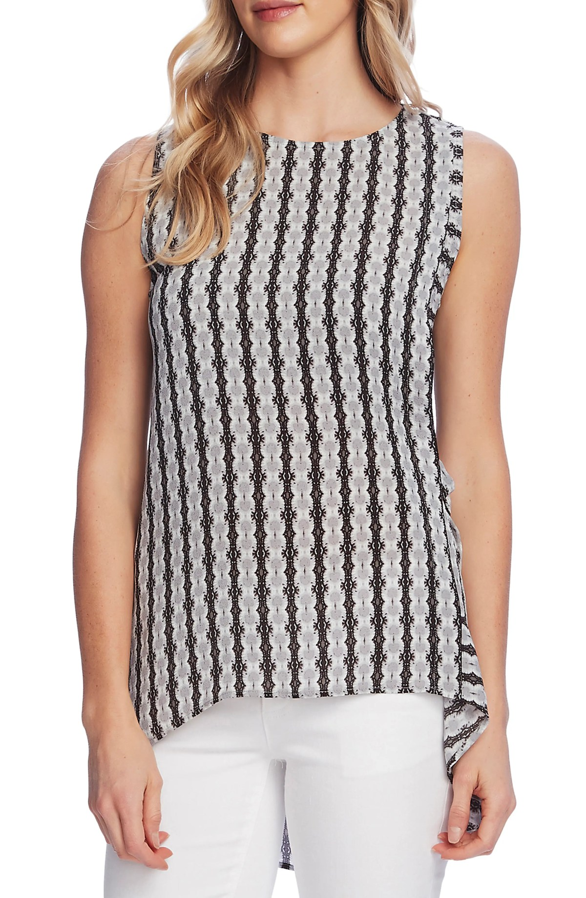 VINCE CAMUTO Starburst Stripe Side Tie High Low Sleeveless Top, Main, color, RICH BLACK