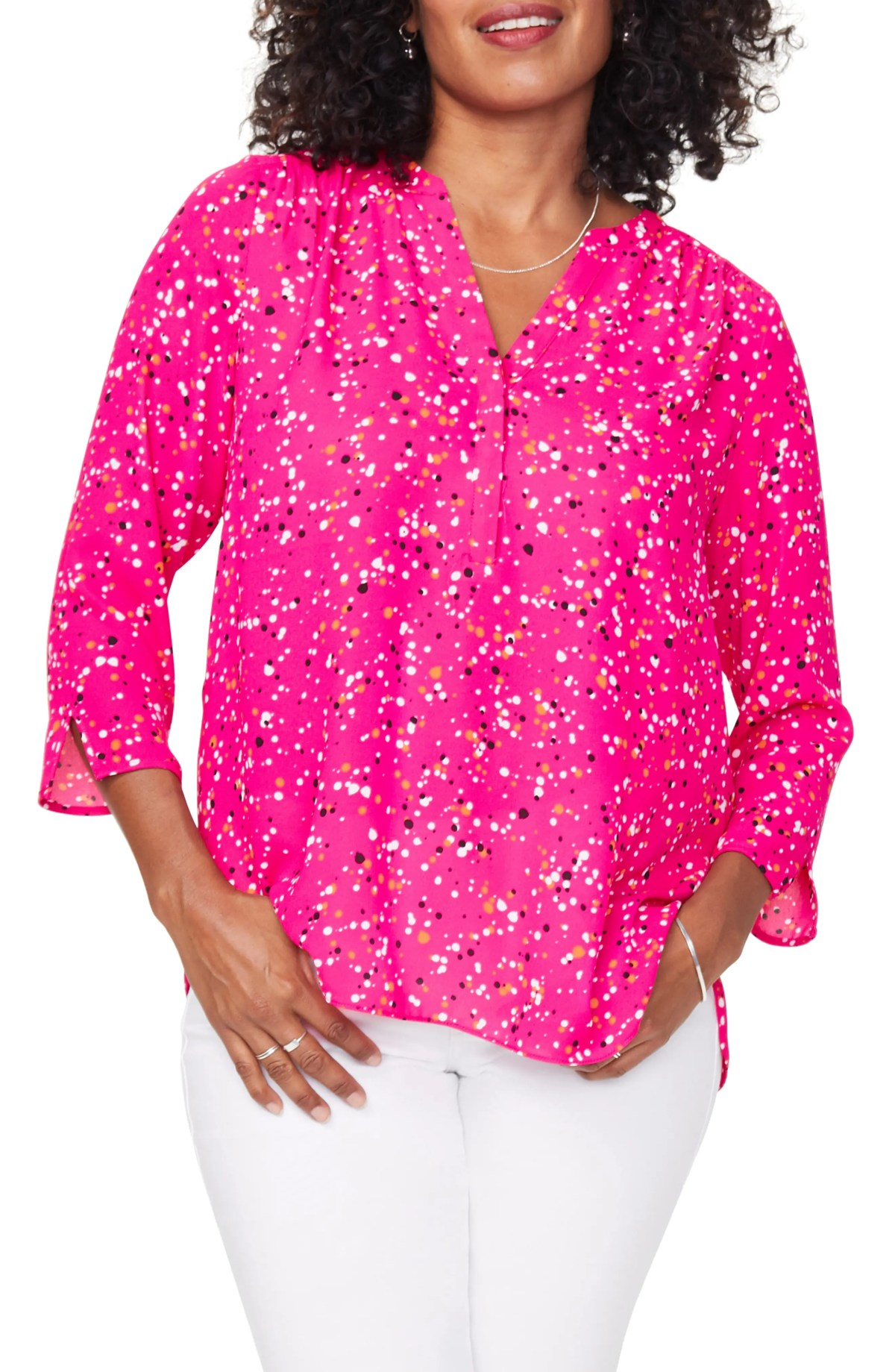 CURVES 360 BY NYDJ Perfect Blouse, Main, color, POLKA SPLATTER