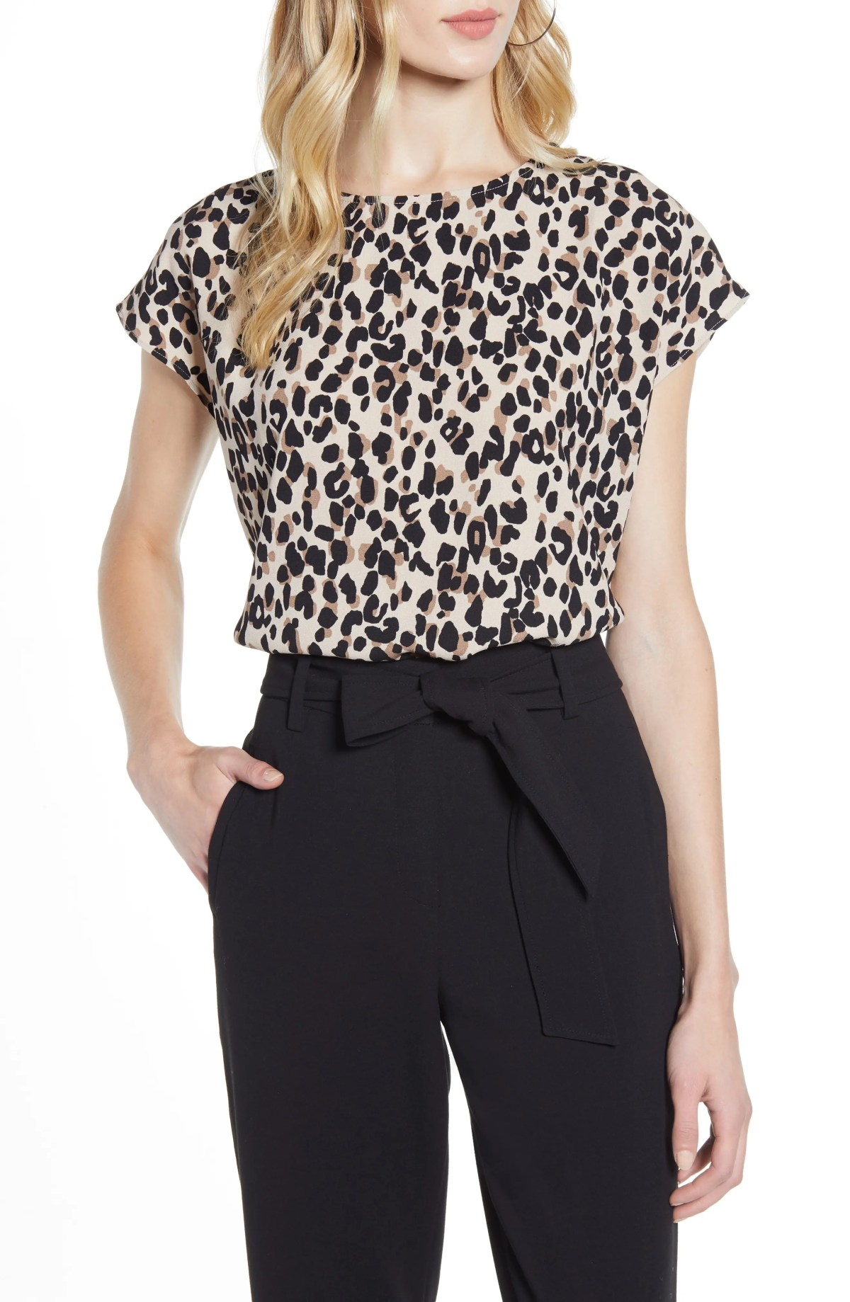 HALOGEN<SUP>®</SUP> Cap Sleeve Blouse, Main, color, TAN ABSTRACT ANIMAL PRINT