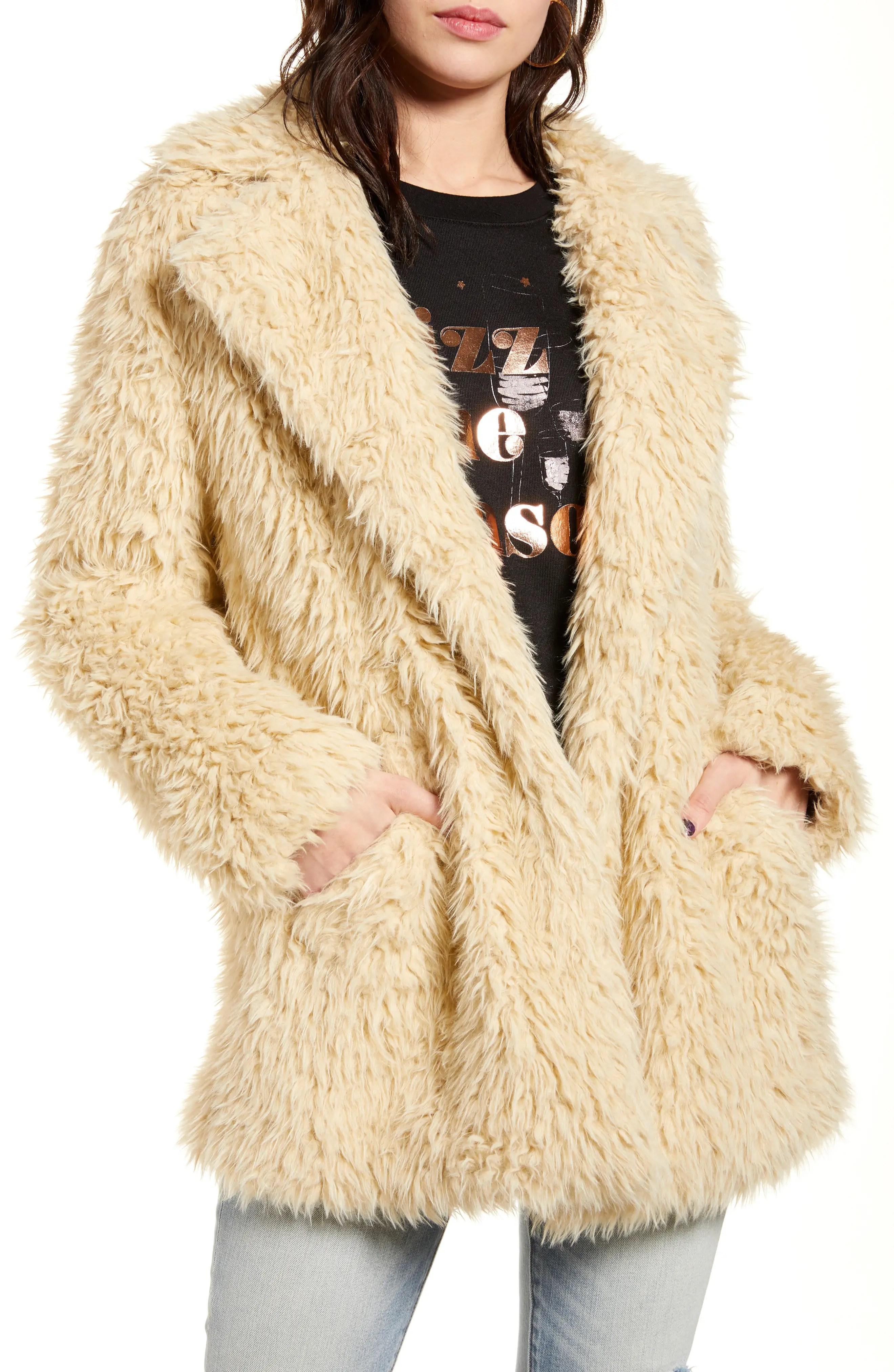 bp faux fur teddy coat nordstrom rack