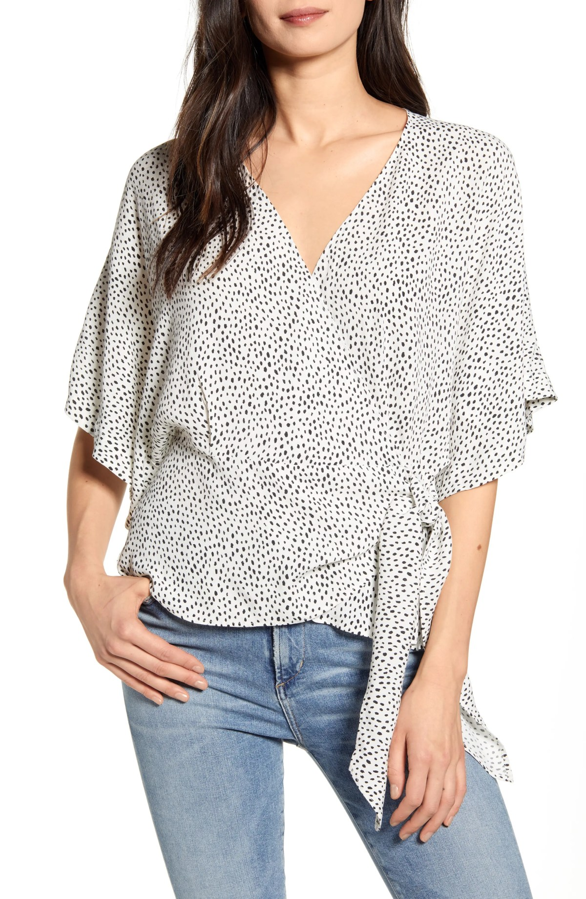 CHELSEA28 Wrap Front Blouse, Main, color, IVORY- BLACK BRUSH DOT