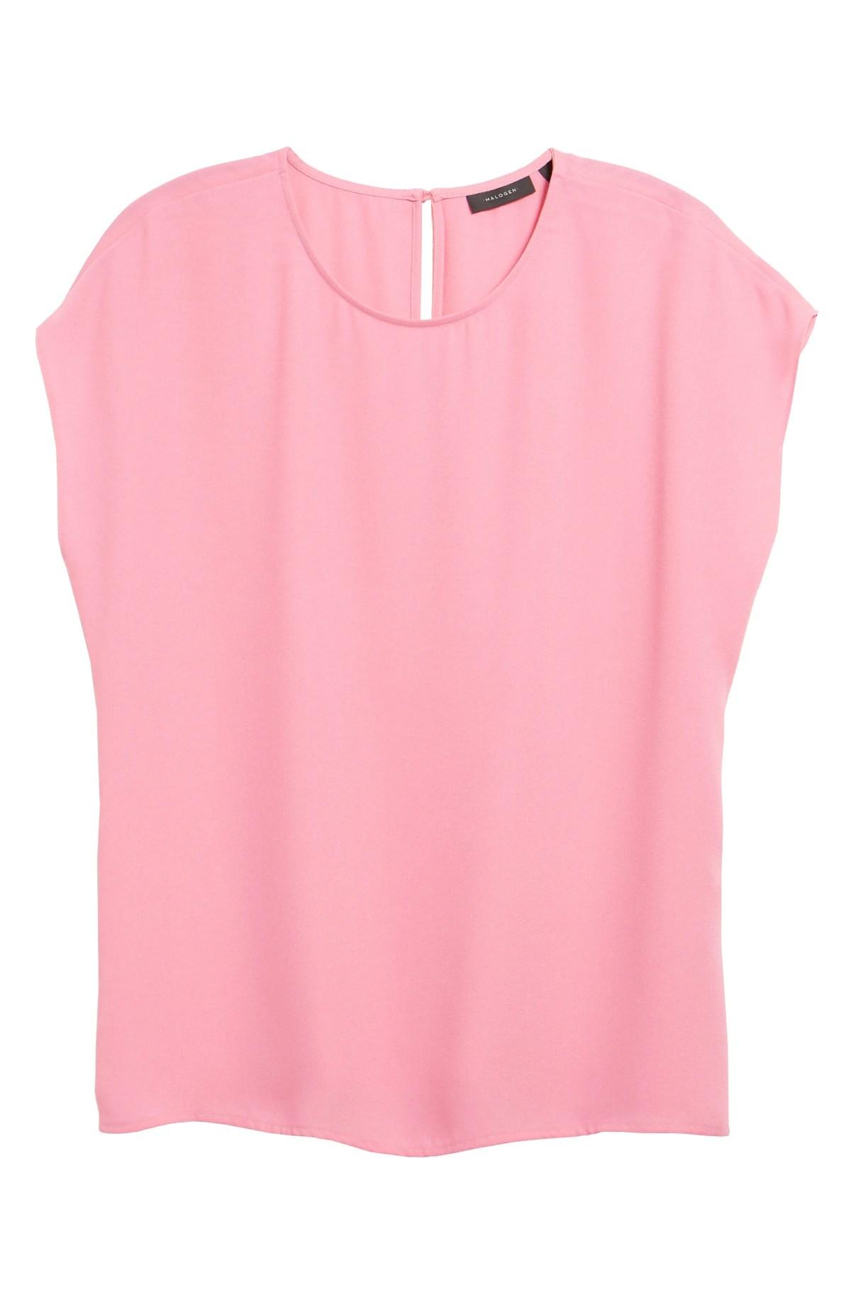 HALOGEN<SUP>®</SUP> Cap Sleeve Blouse, Main, color, PINK AURORA