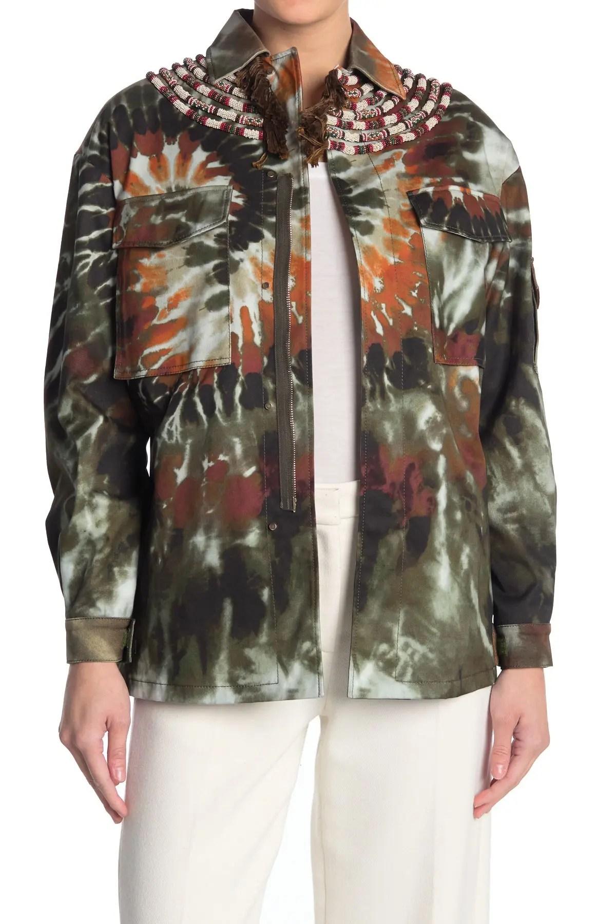 valentino caban embellished tie dye jacket nordstrom rack
