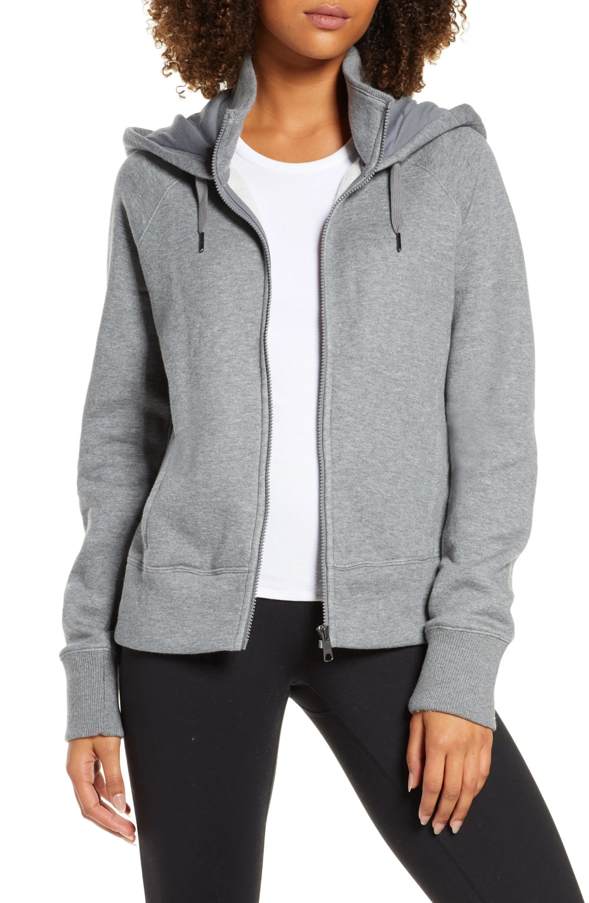 ZELLA Nola Full Zip Hooded Sweatshirt, Main, color, GREY DARK HEATHER