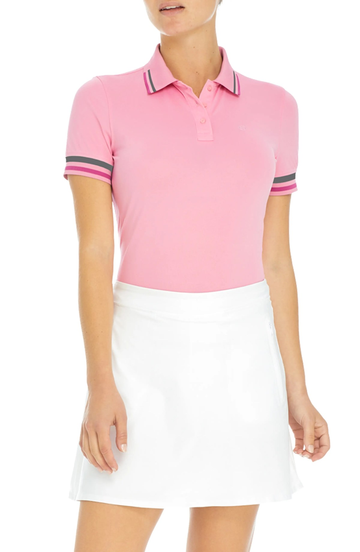 Tipped Piqué Golf Polo, Main, color, SEA PINK
