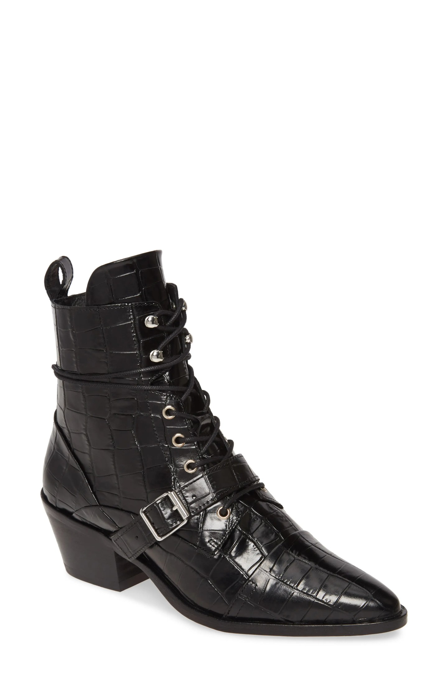 ALLSAINTS Katy Boot, Main, color, BLACK CROC LEATHER
