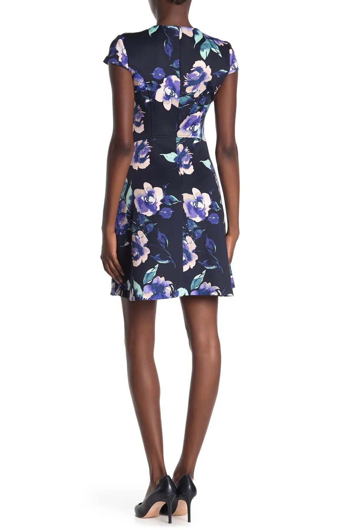 vince camuto floral short sleeve scuba dress nordstrom rack