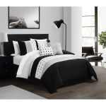Chic Home Bedding Lannie Color Block Pleated Embroidered Design Queen Comforter Set Black 5 Piece Set Nordstrom Rack