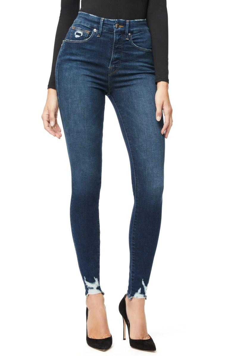 good american good waist distressed high waist ankle skinny jeans blue 309 regular plus size nordstrom