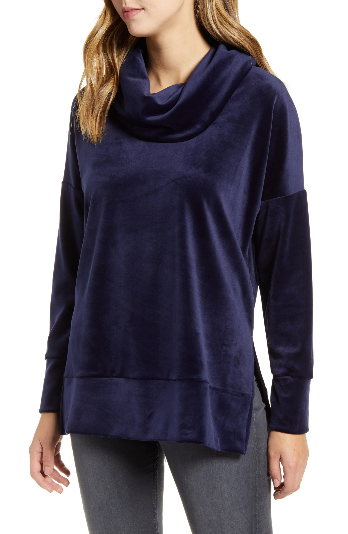 LOVEAPPELLA Velvet Cowl Neck Tunic Top, Main, color, NAVY