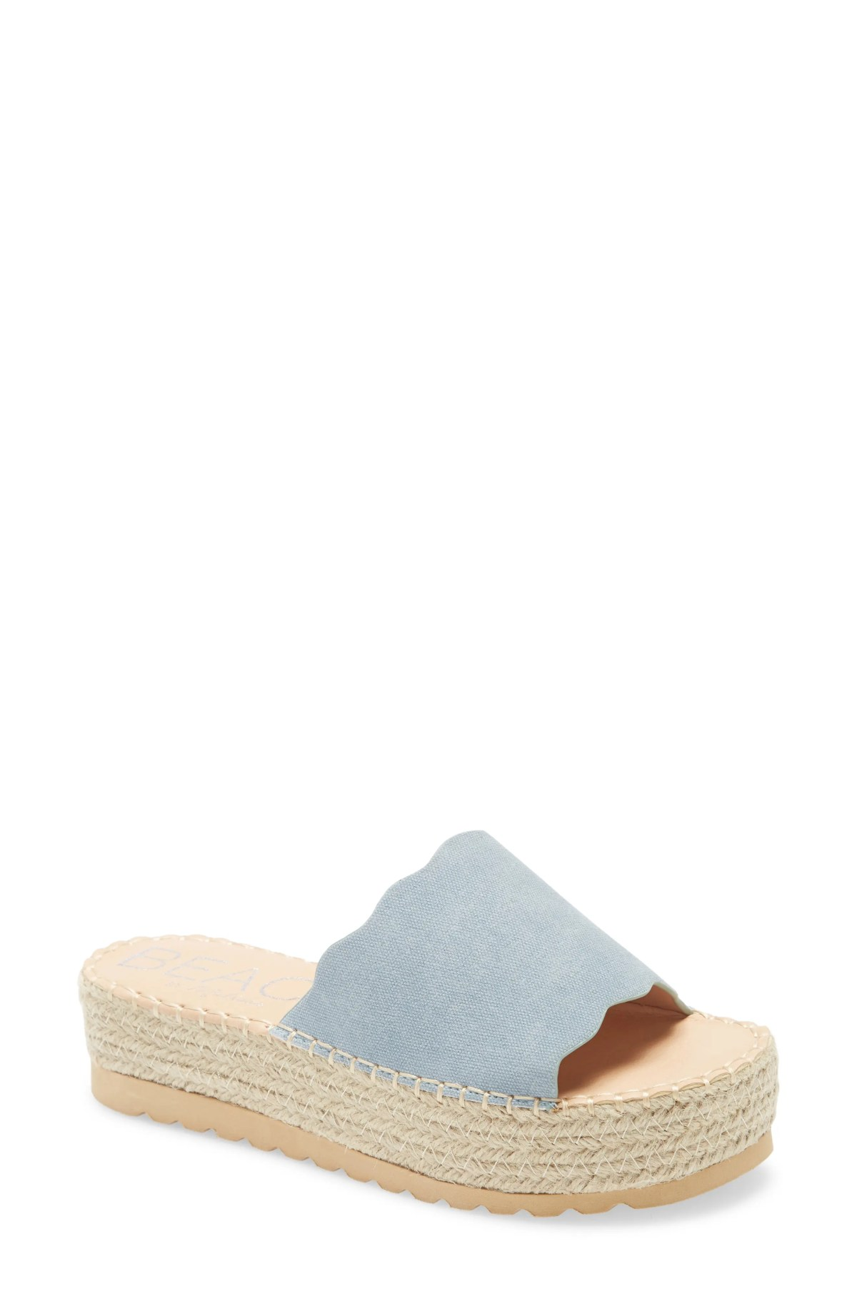 BEACH BY MATISSE Palm Platform Slide Sandal, Main, color, BLUE FABRIC