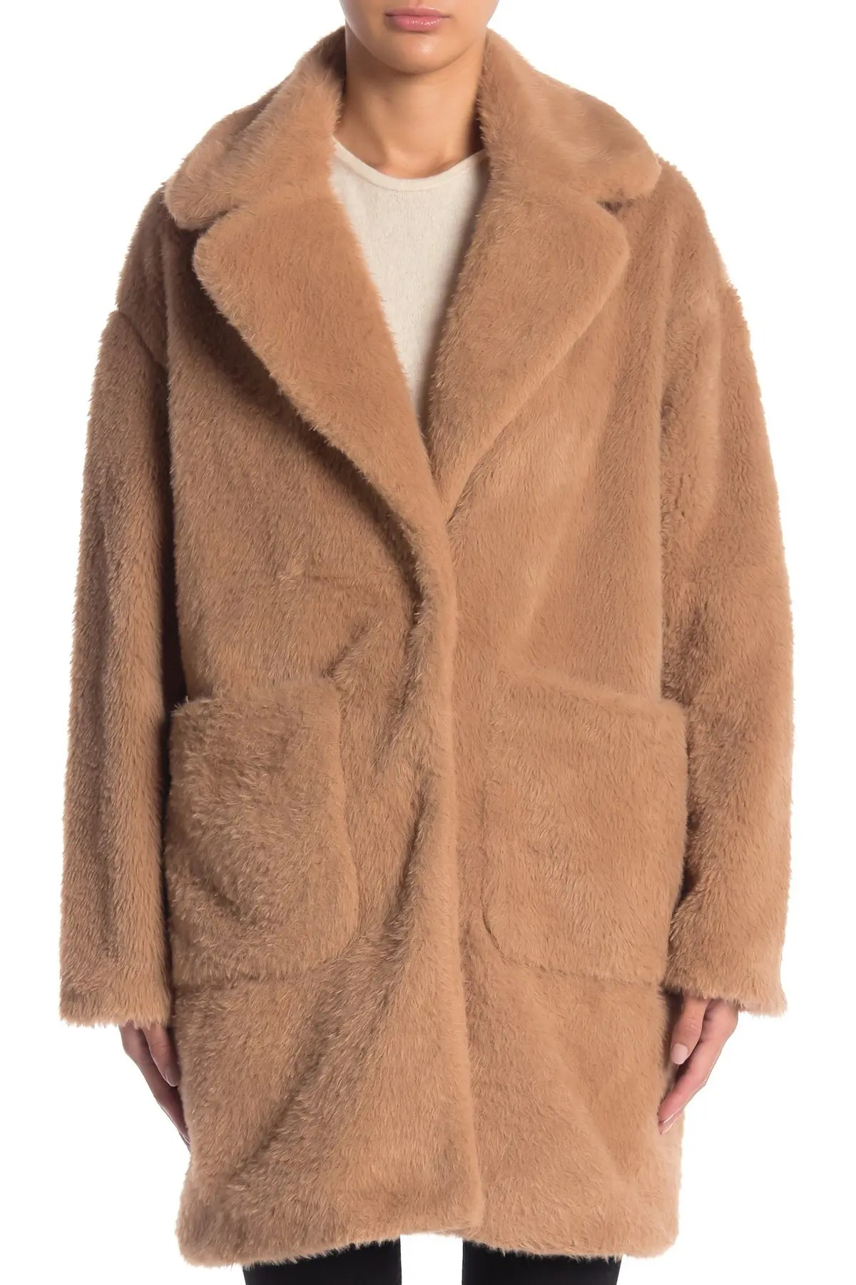 bcbg faux fur notch collar pocketed coat nordstrom rack