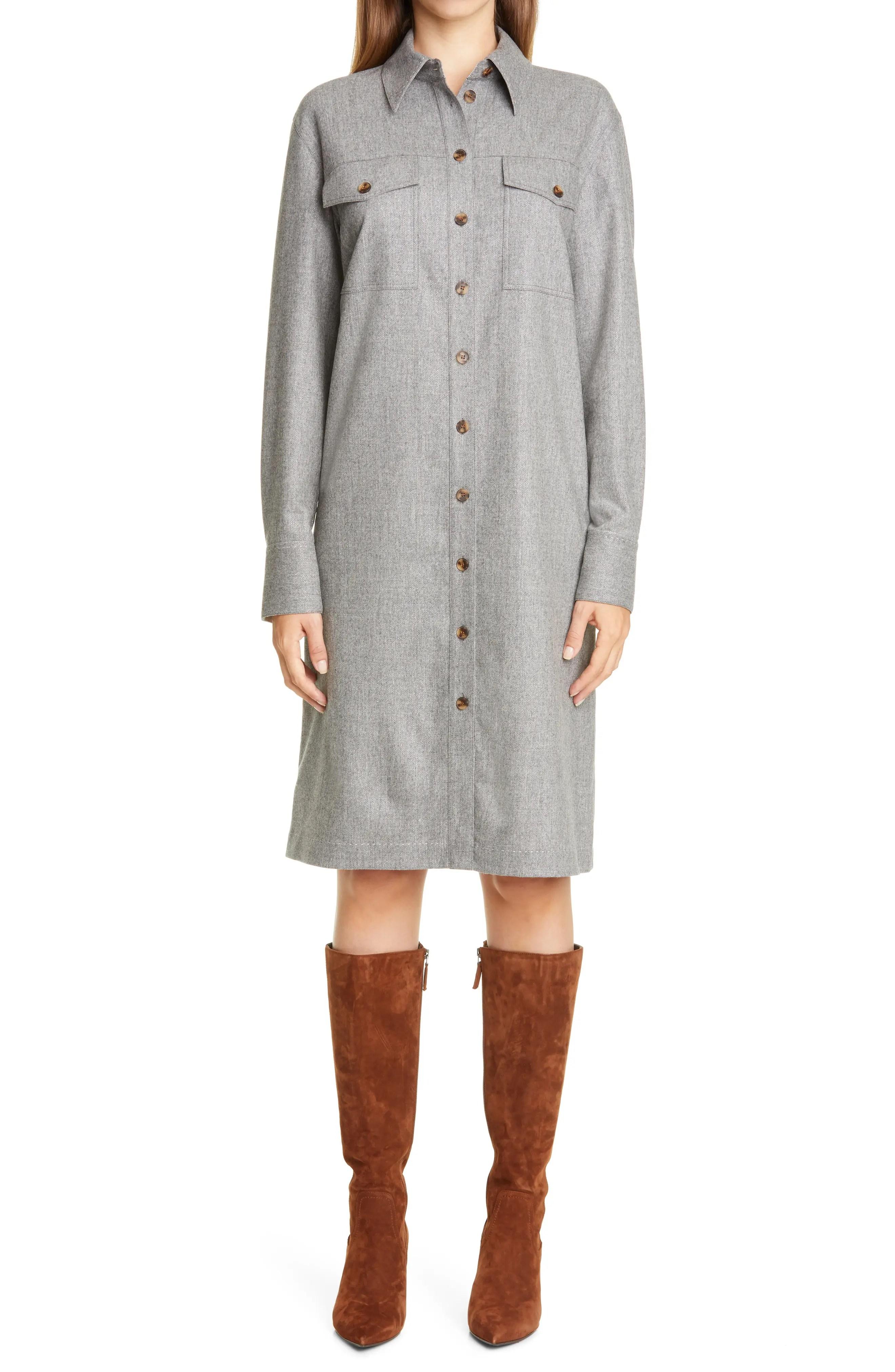 lafayette 148 new york thomme metallic virgin wool blend shirtdress nordstrom rack