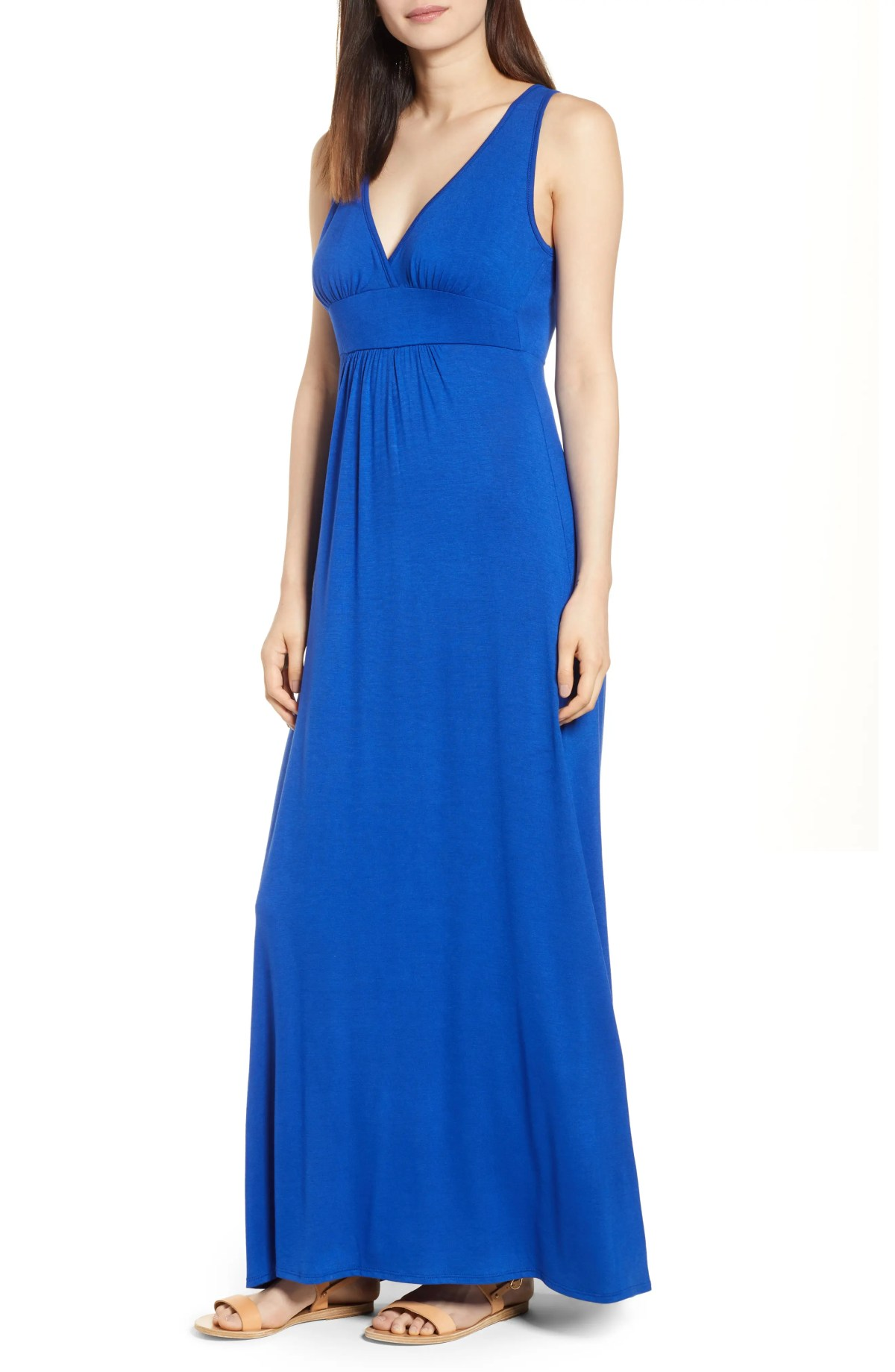 LOVEAPPELLA V-Neck Jersey Maxi Dress, Main, color, BLUE MAZARINE