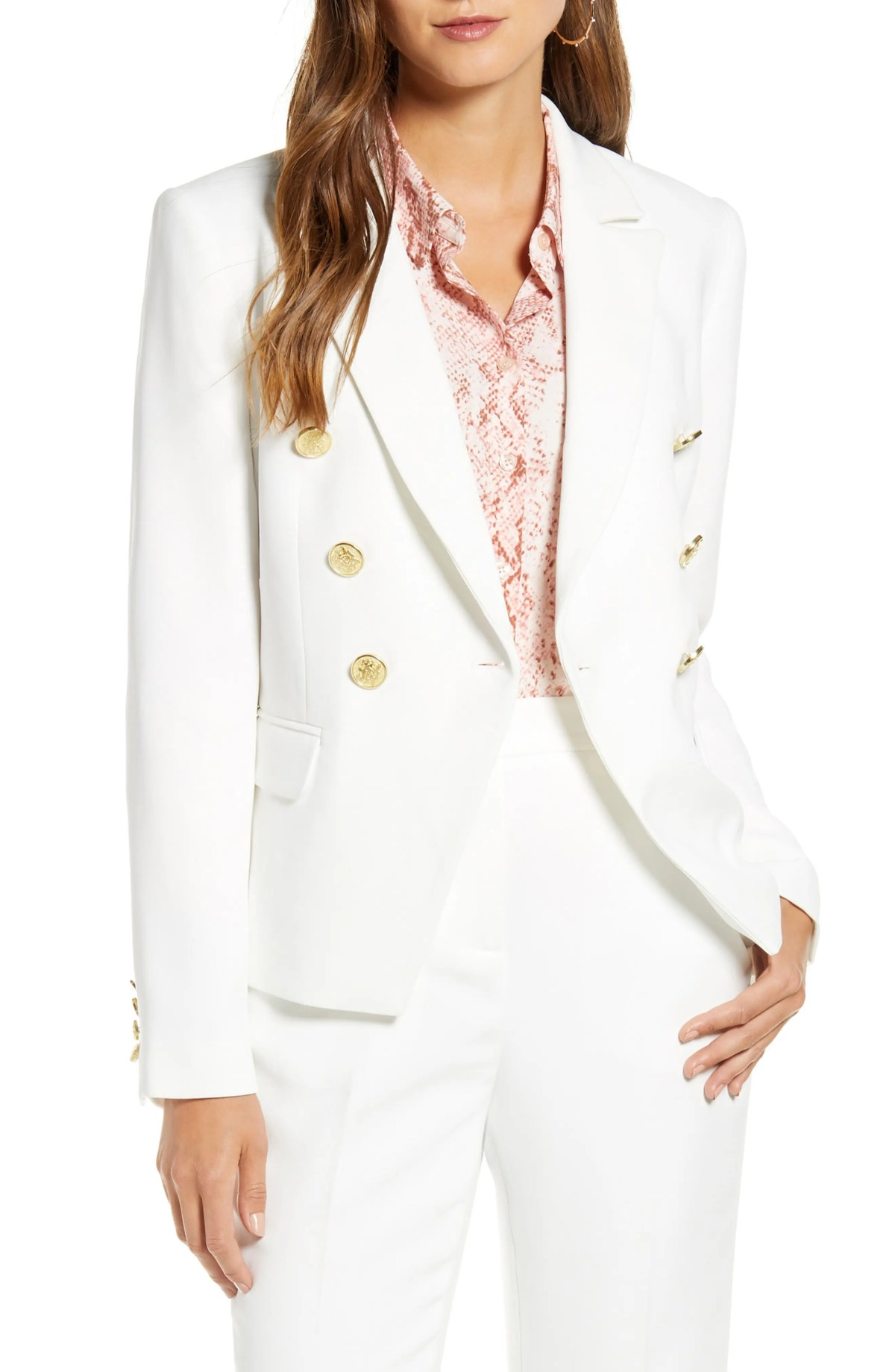 RACHEL PARCELL Fitted Blazer, Alternate, color, IVORY CLOUD