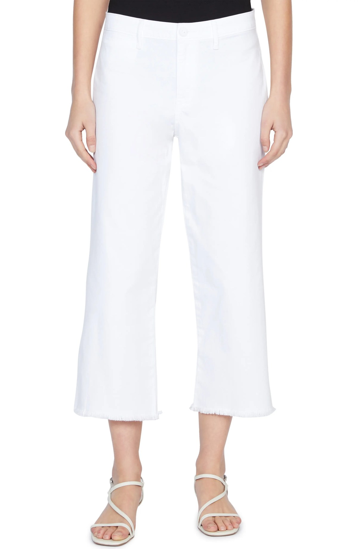 SANCTUARY Wide Leg Raw Hem Crop Pants, Main, color, WHITE JASMINE