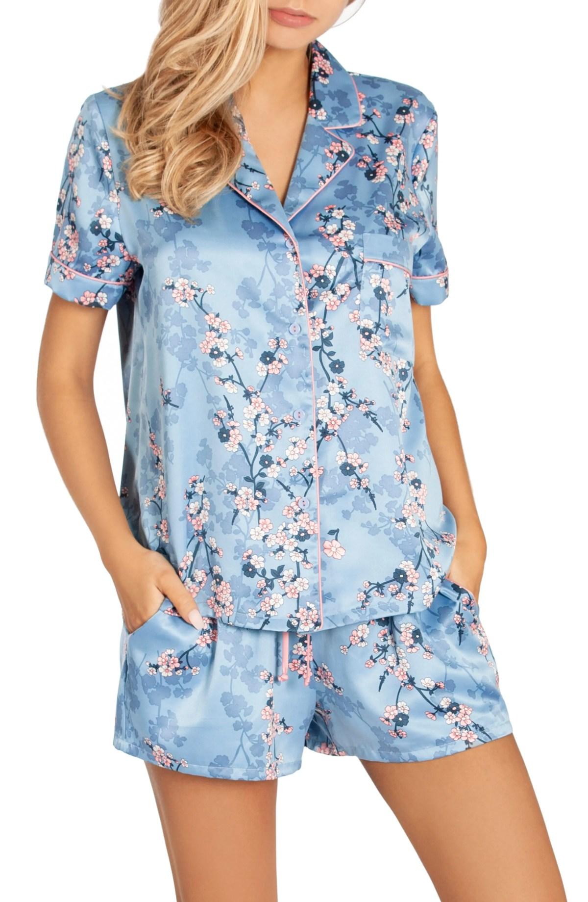 Satin Short Pajamas, Main, color, PLUM BLOSSOM