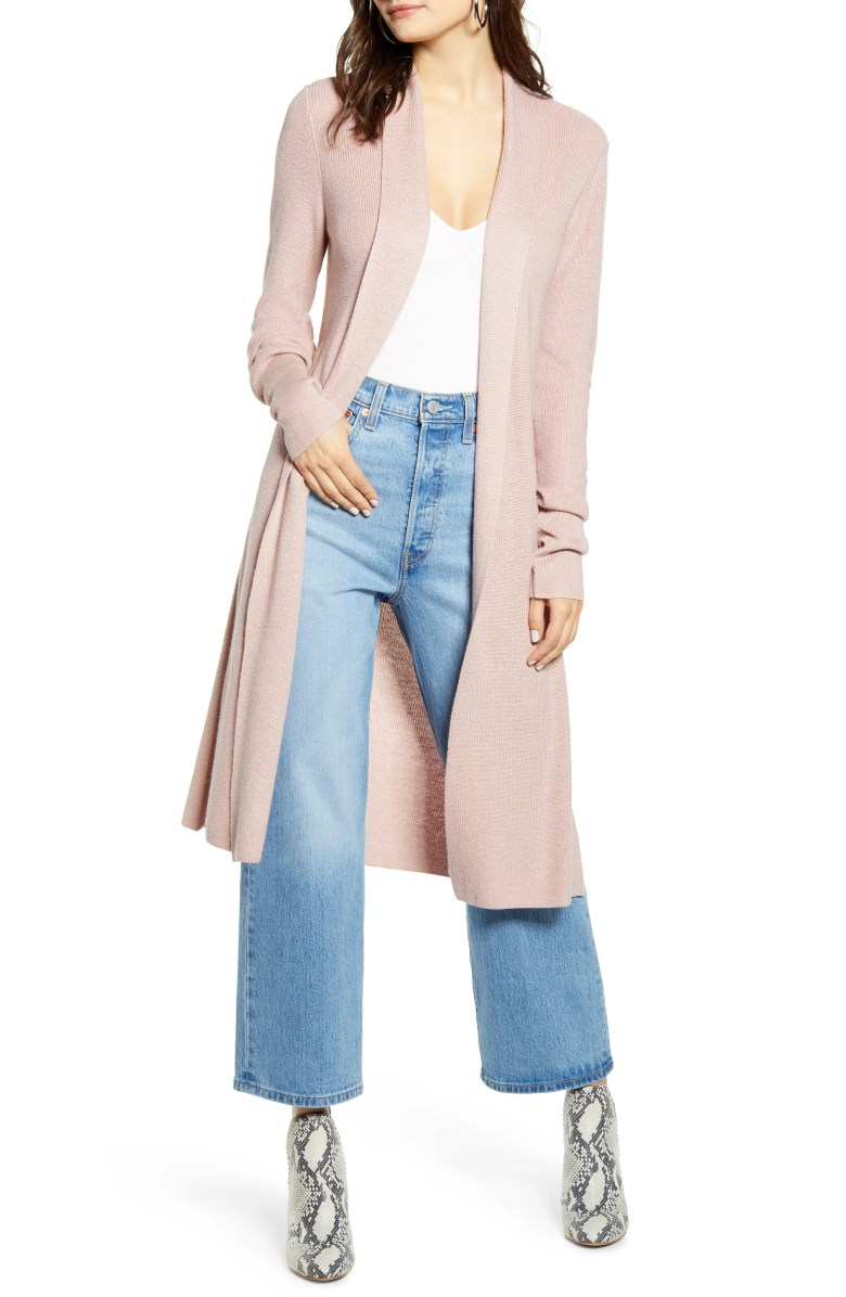 Longline Cardigan, Main, color, PINK ADOBE