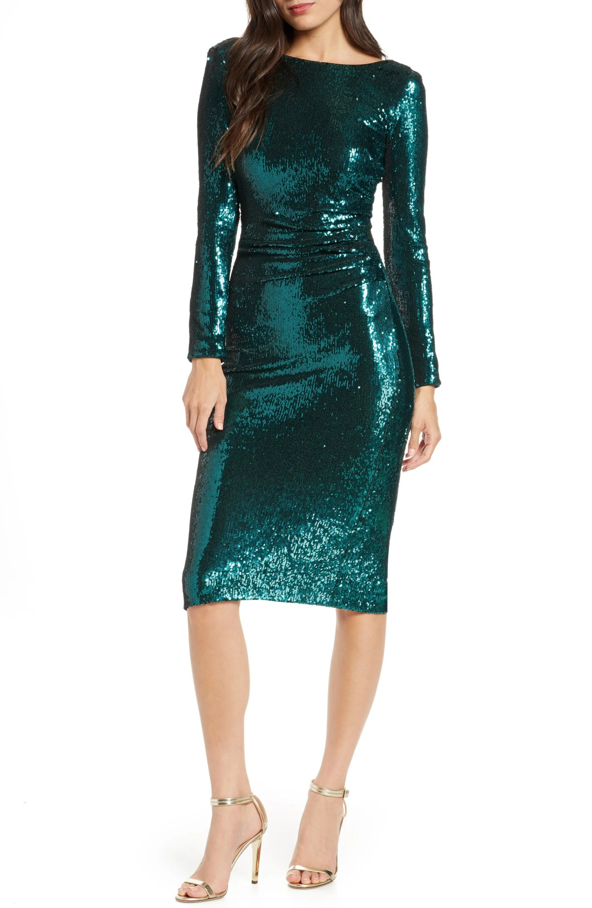 DRESS THE POPULATION Emilia Sequin Long Sleeve Cocktail Dress, Main, color, DEEP EMERALD