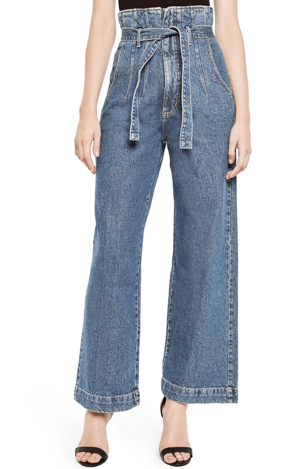 BARDOT Paperbag Wide Leg Jeans, Main, color, VINTAGE