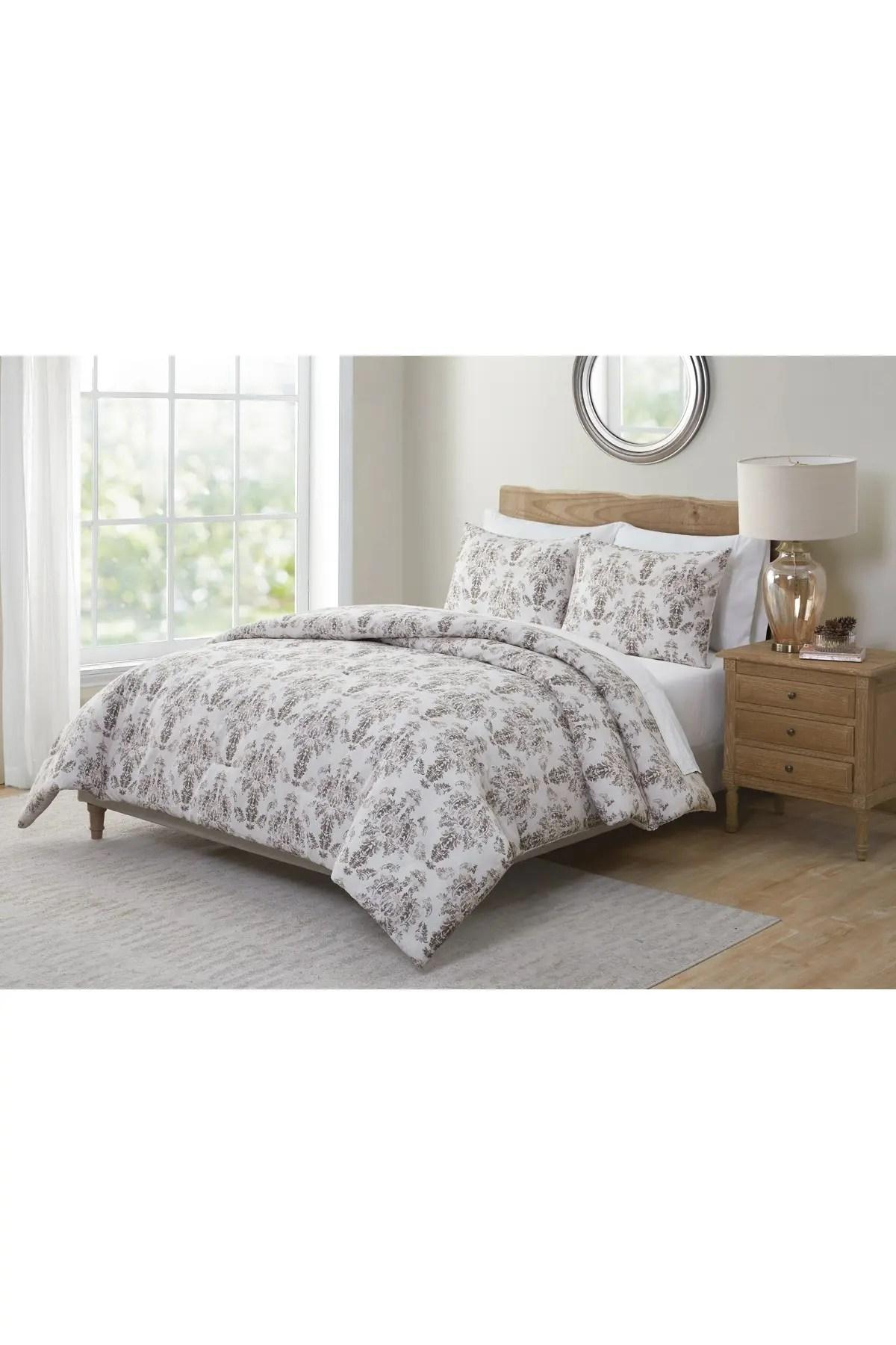 vcny home tahari marla damask 3 piece comforter set taupe king nordstrom rack