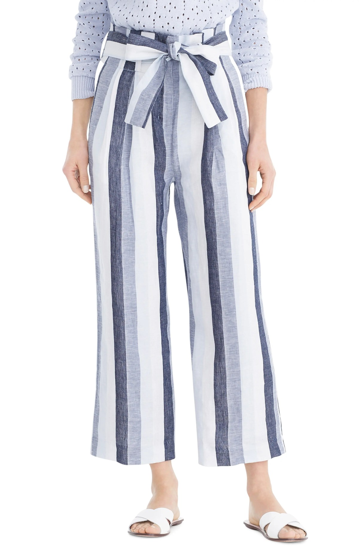 Point Sur Paperbag Stripe Linen Pants, Main, color, BLUE IVORY MULTI