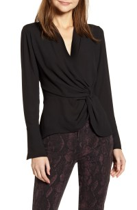 Surplice Twist Front Top, Main, color, BLACK