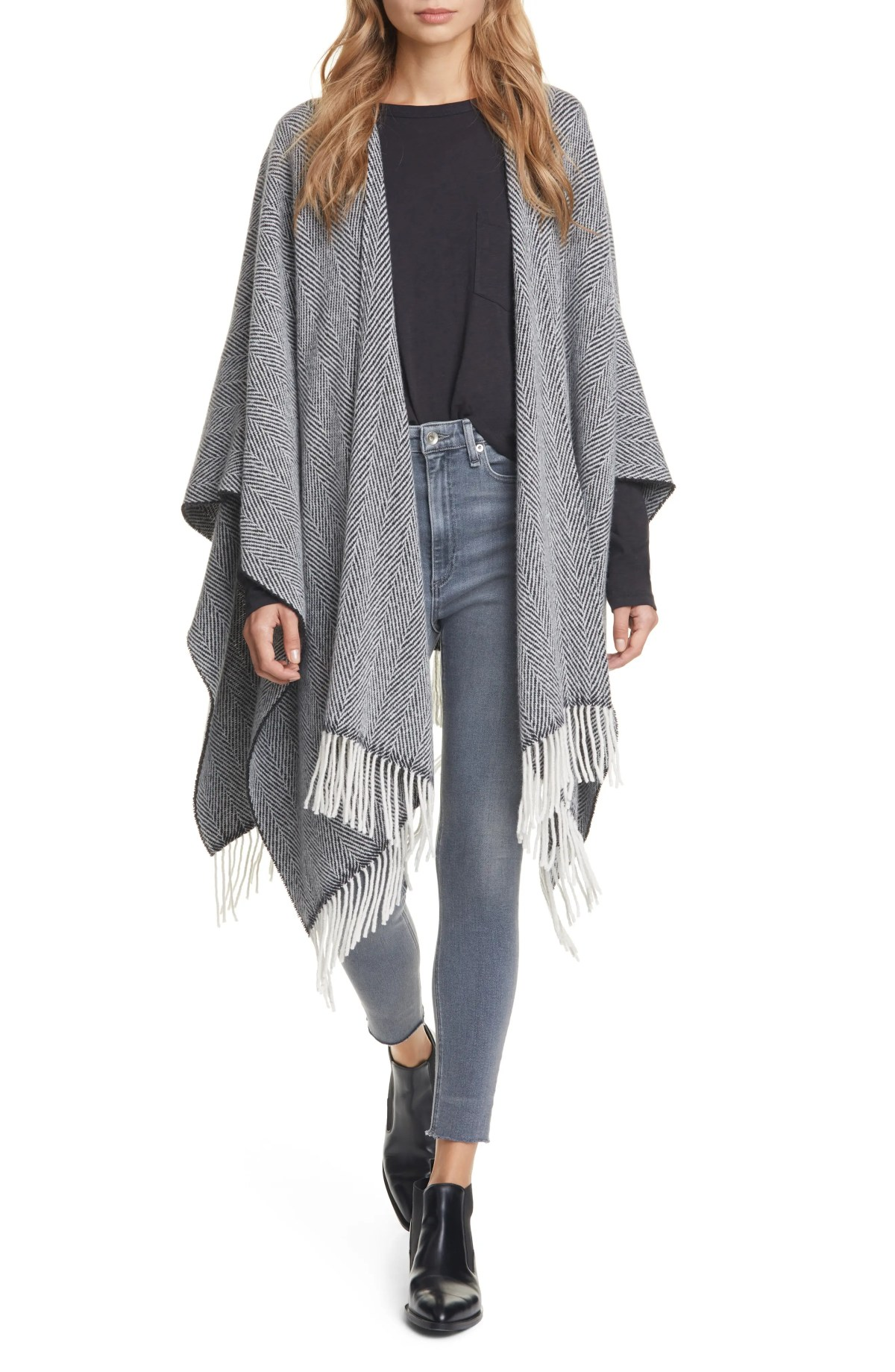 RAG & BONE Herringbone Wool Blend Poncho, Main, color, BLKMULT