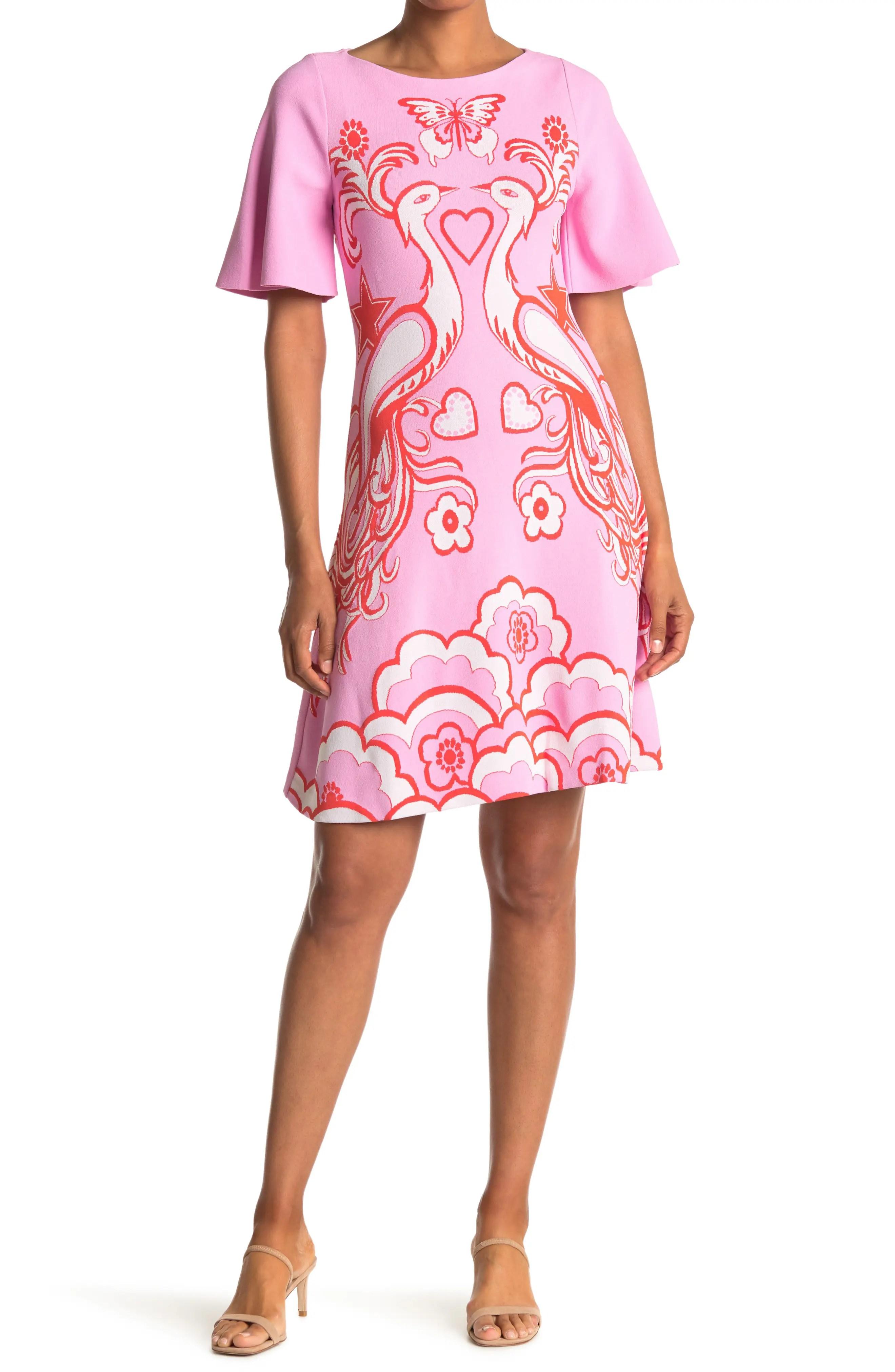 valentino peacock short sleeve mini dress nordstrom rack