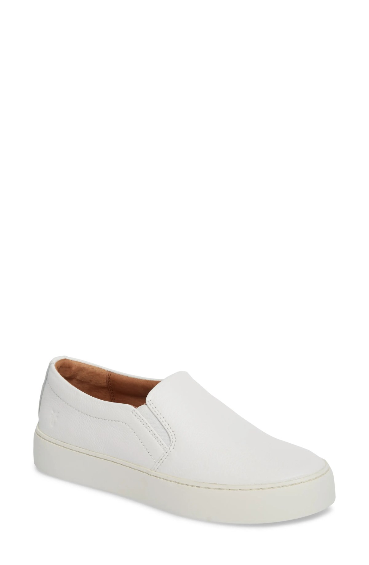 FRYE Lena Slip-On Sneaker, Main, color, WHITE LEATHER