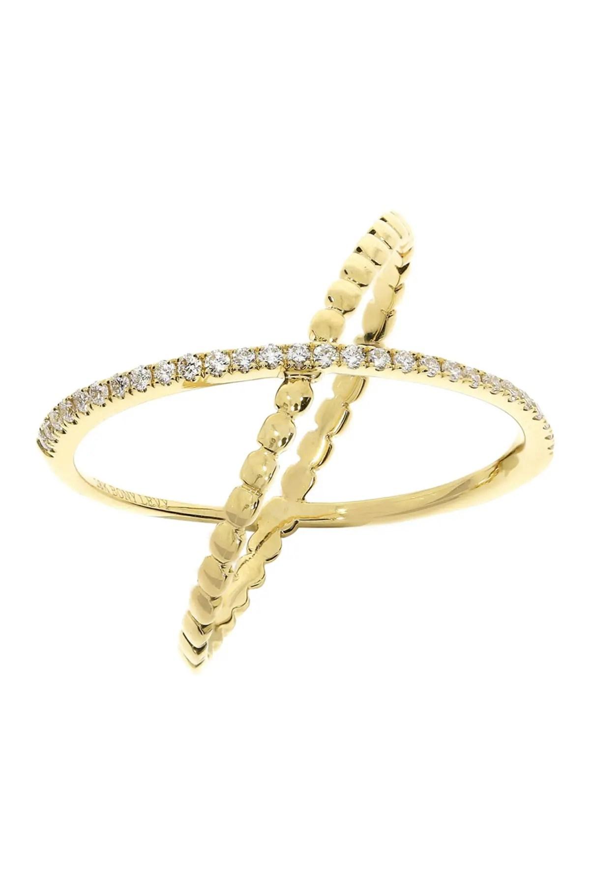 bony levy 18k yellow gold diamond crossover ring 0 14 ctw nordstrom rack