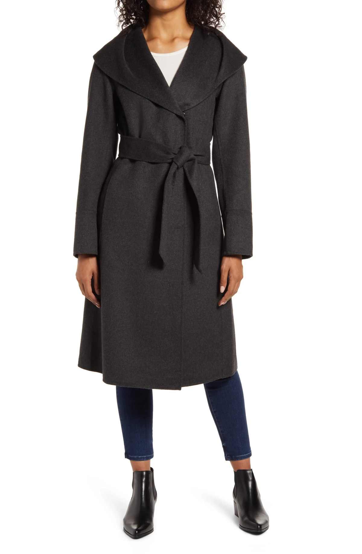 KENNETH COLE NEW YORK Shawl Collar Wool Blend Wrap Coat, Main, color, CHARCOAL