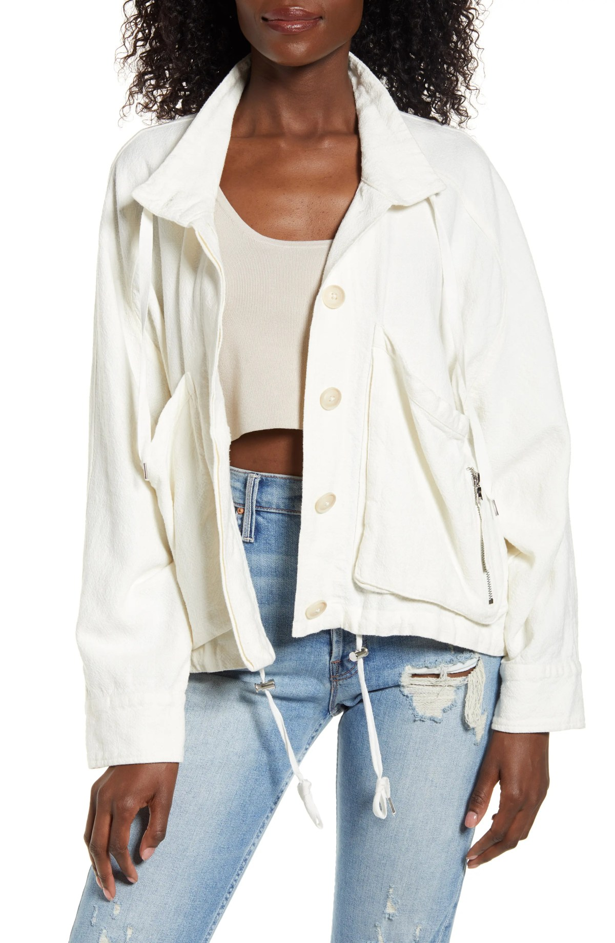 BLANKNYC Linen Blend Utility Jacket, Main, color, CLEAN SLATE