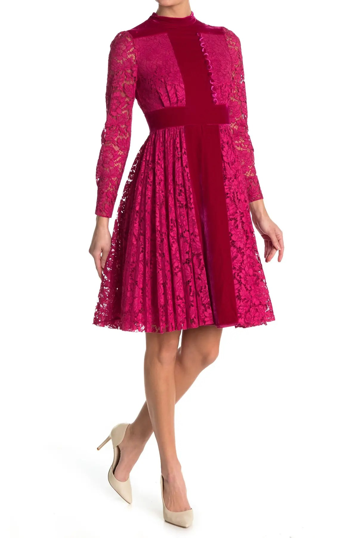 valentino lace velvet long sleeve fit flare dress nordstrom rack
