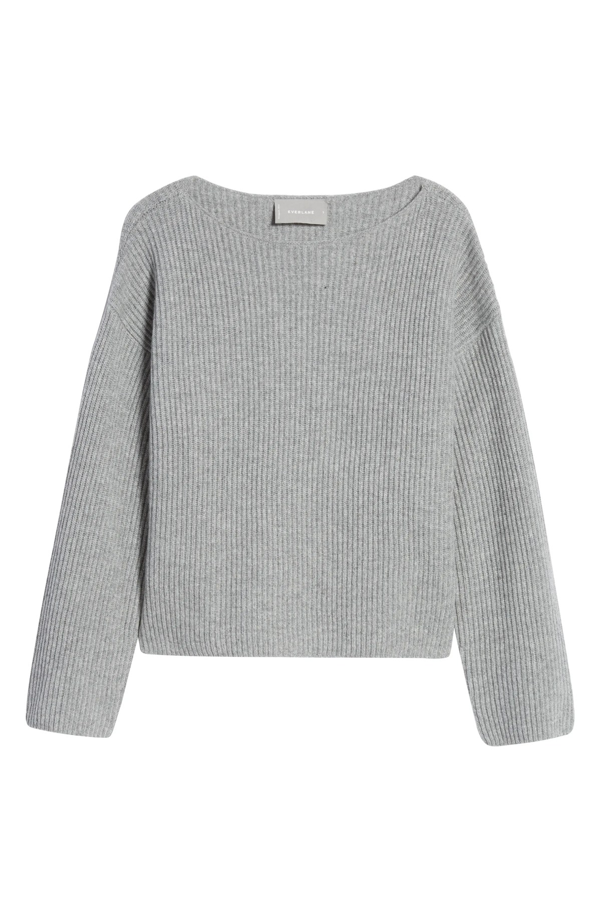 EVERLANE The Cashmere Rib Boatneck Sweater, Main, color, HEATHER GREY