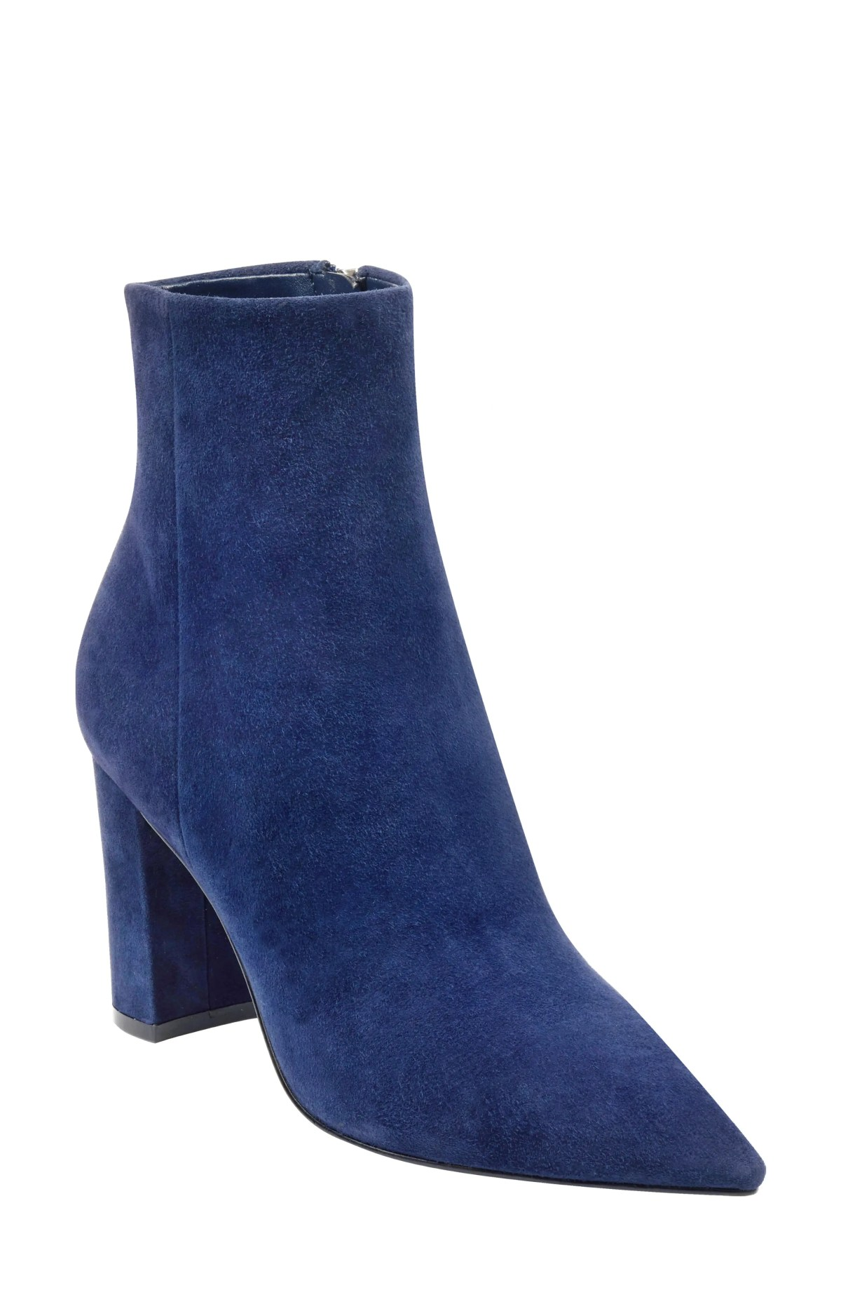 MARC FISHER LTD Ulani Pointy Toe Bootie, Main, color, DARK BLUE SUEDE
