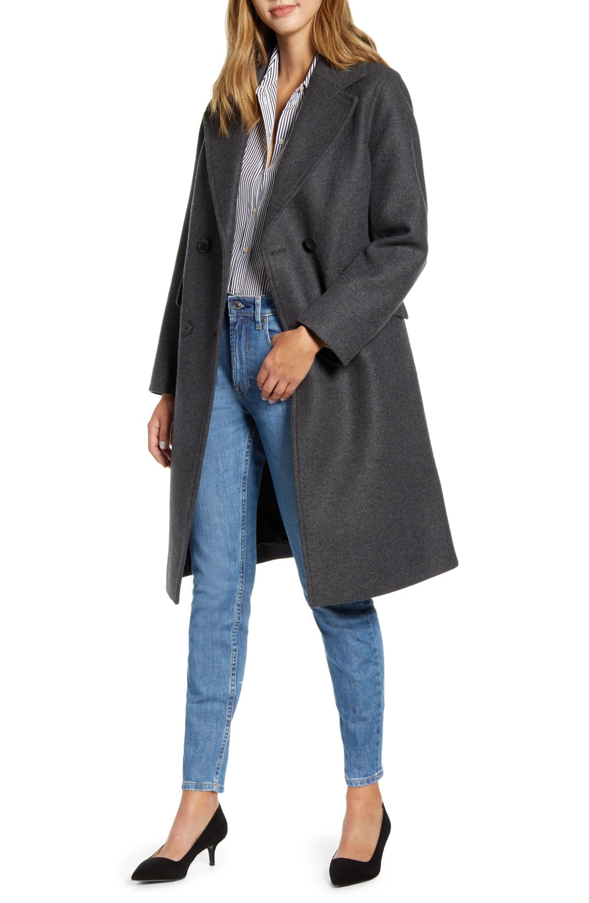 EVERLANE The Double Breasted Coat, Alternate, color, DARK CHARCOAL