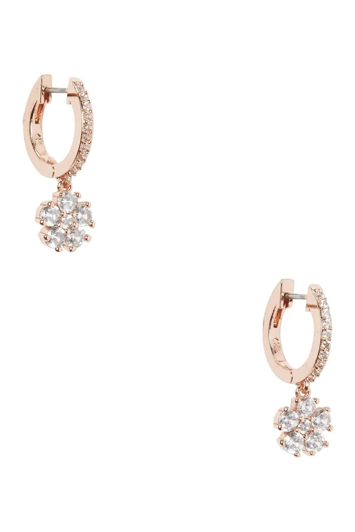 cz flower drop huggie earrings