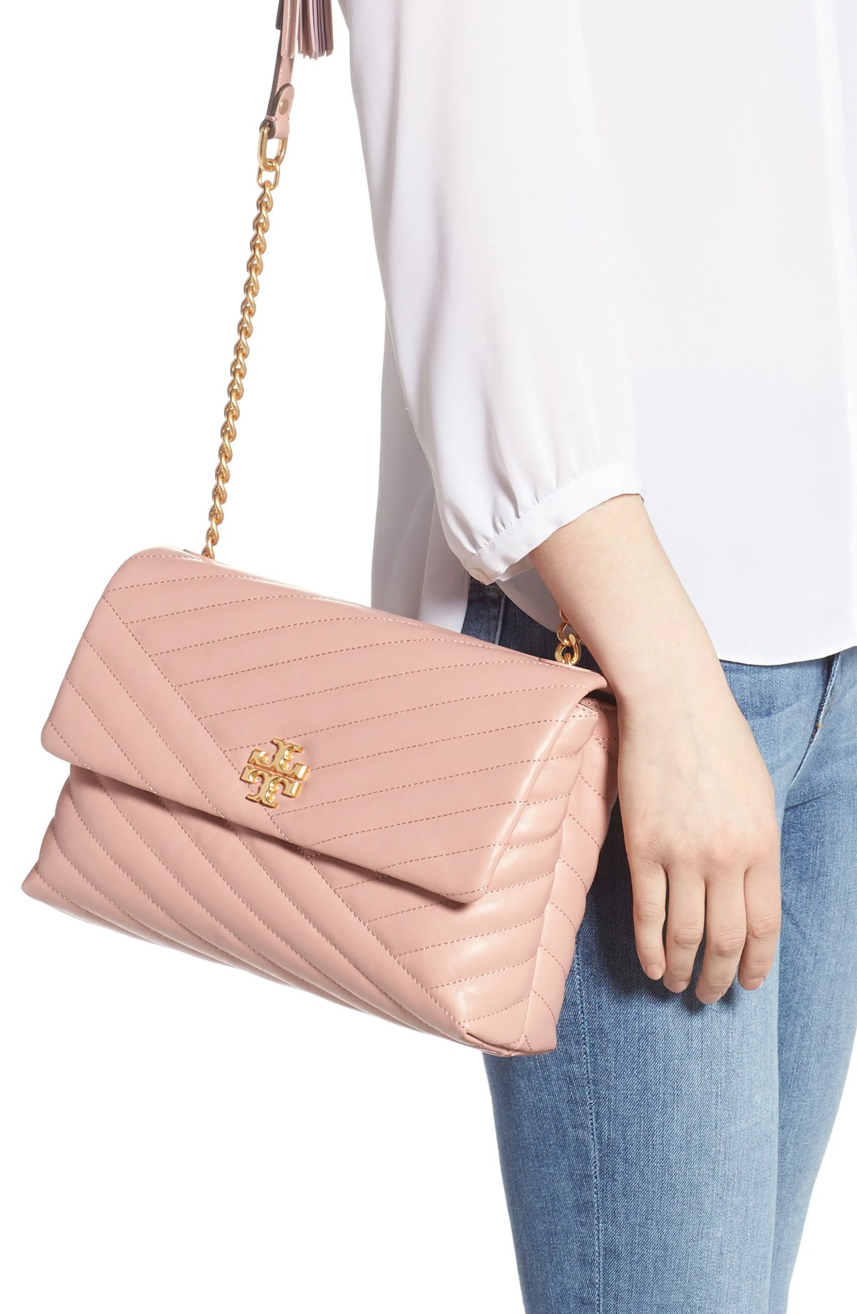 TORY BURCH Kira Chevron Quilted Leather Shoulder Bag, Alternate, color, PINK MOON