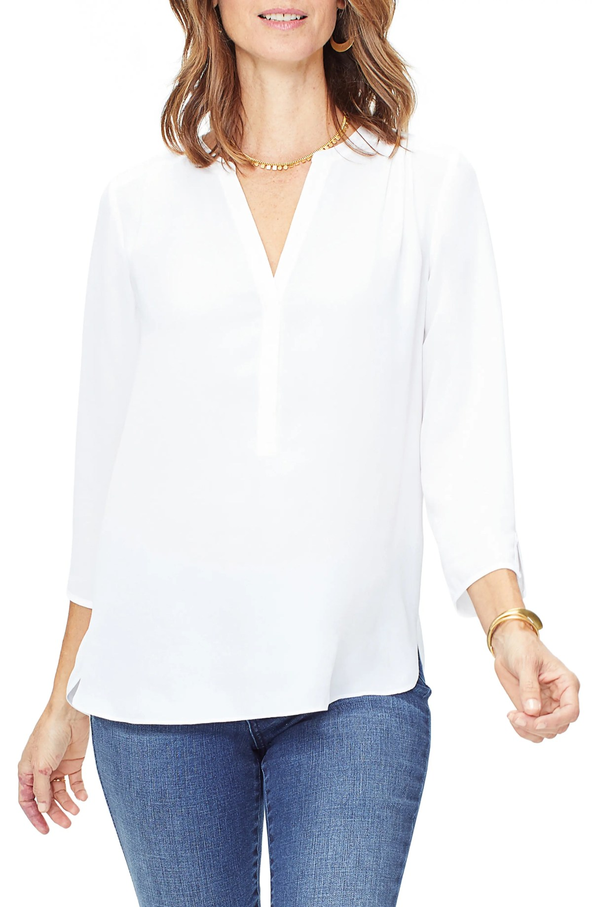 CURVES 360 BY NYDJ Perfect Blouse, Main, color, OPTIC WHITE