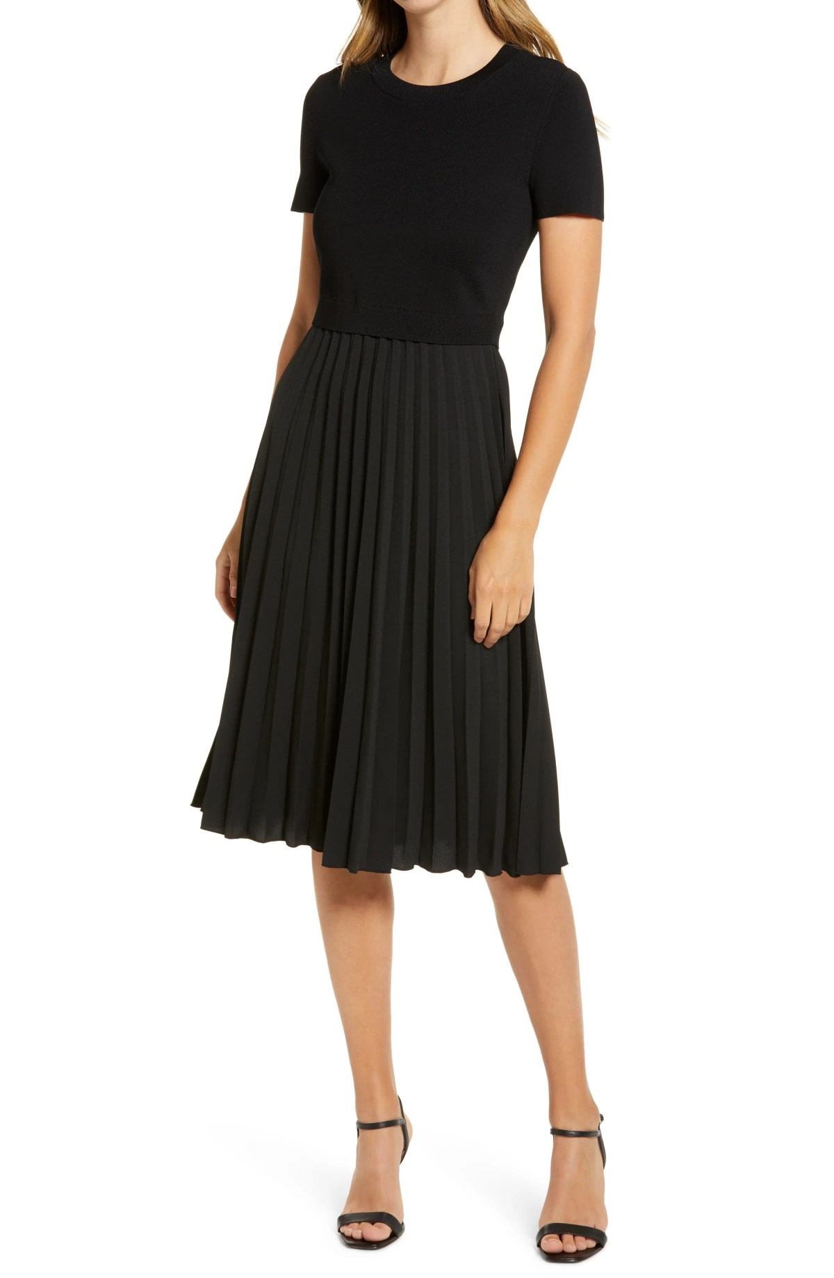 RACHEL PARCELL Pleated Mixed Media Dress, Main, color, BLACK