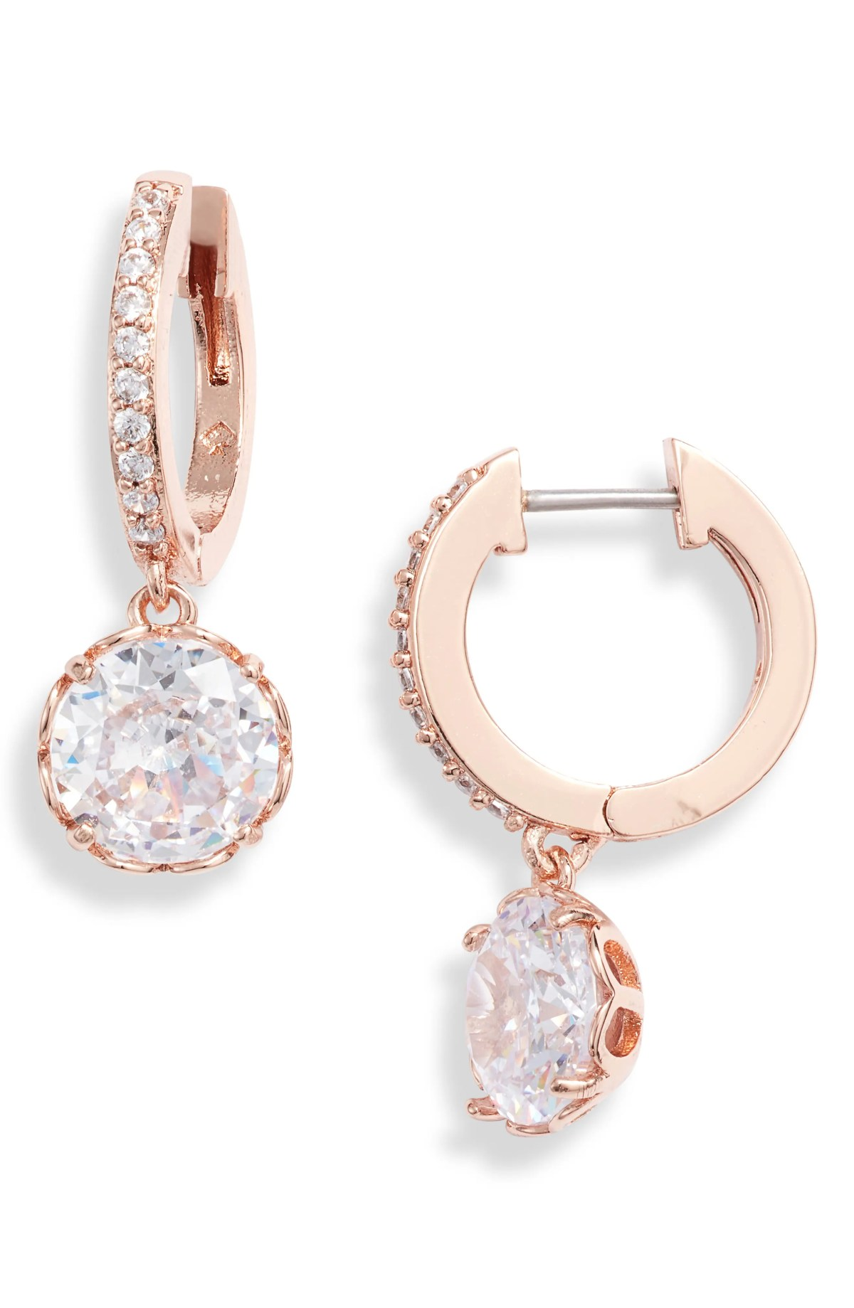 that sparkle pavé huggie hoop earrings, Main, color, CLEAR/ ROSE GOLD