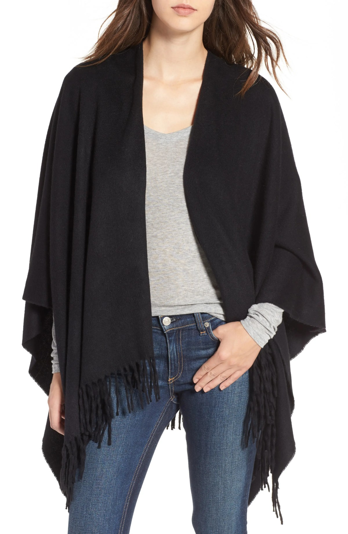 RAG & BONE Cashmere Poncho, Main, color, BLACK