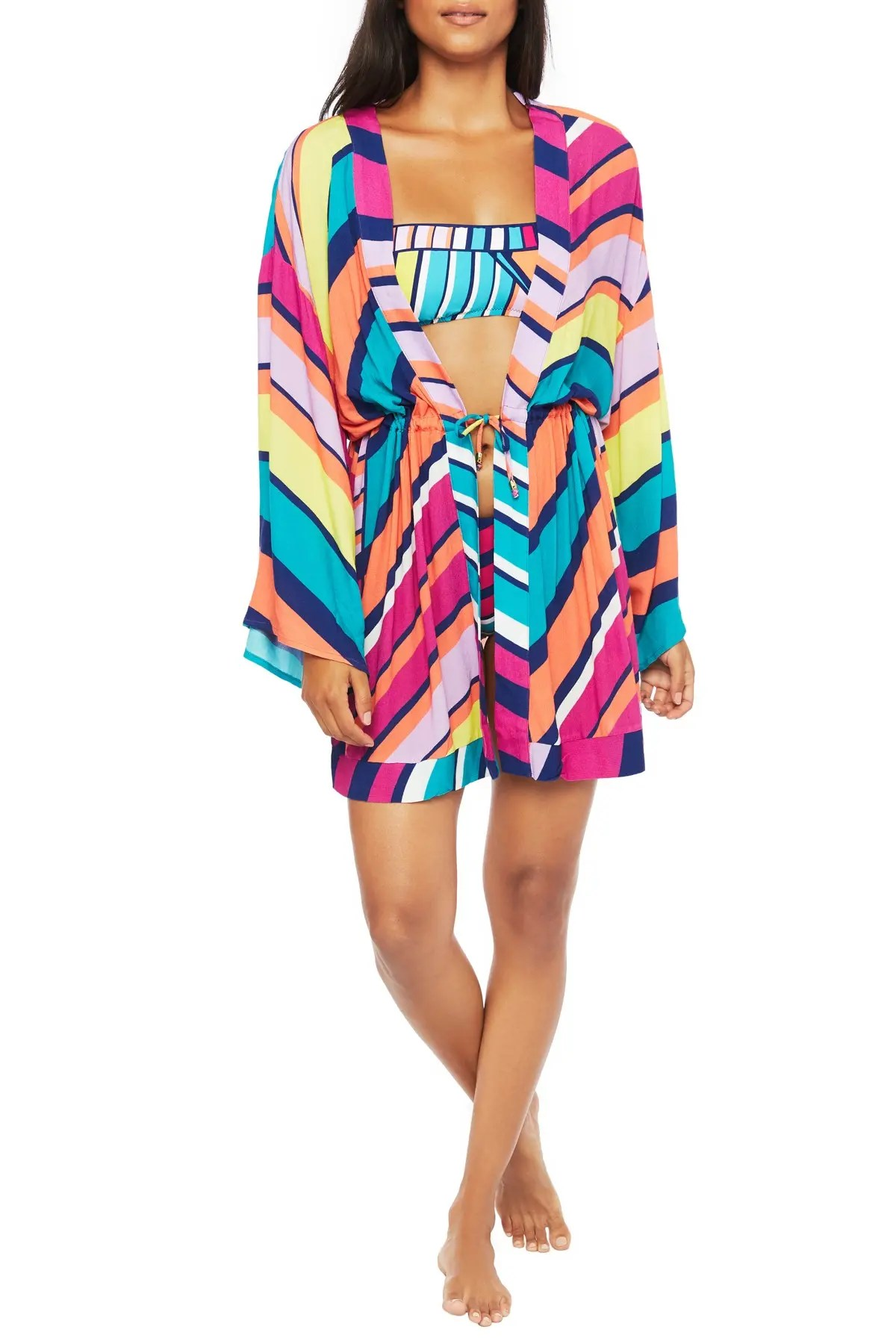 trina turk catch a wave tie front cover up kimono nordstrom rack