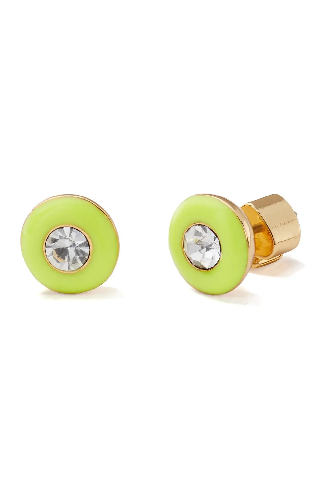kate spade new york enamel framed round stud earrings nordstrom rack